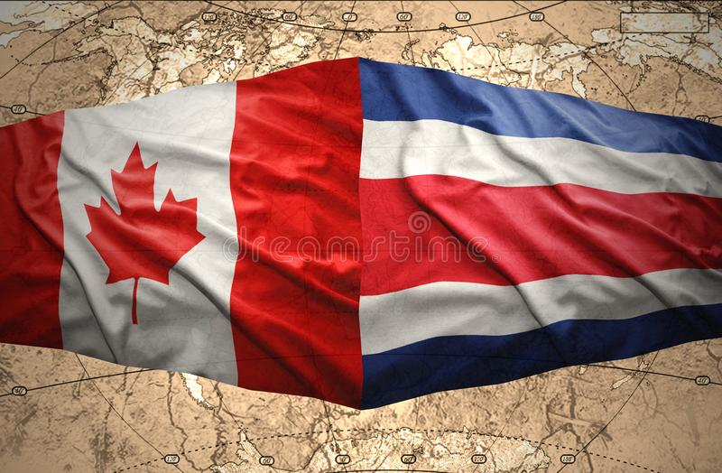 Costa Rica and Canada. Waving Costa Rica and Canadian flags on the of the political map of the world stock illustration