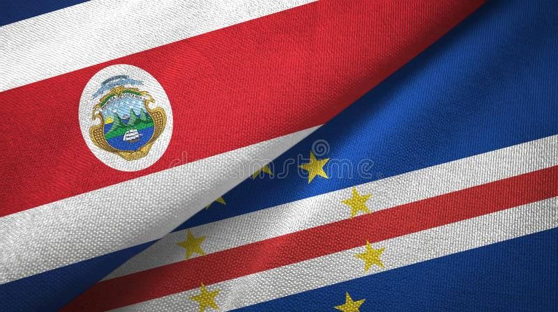 Costa Rica and Cape Cabo Verde two flags textile cloth, fabric texture. Costa Rica and Cape Cabo Verde two folded flags together stock illustration
