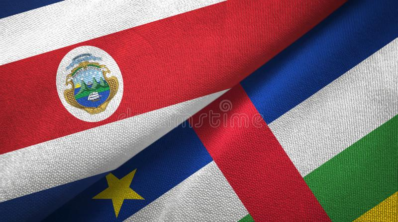 Costa Rica and Central African Republic two flags textile fabric texture. Costa Rica and Central African Republic flags together textile cloth, fabric texture vector illustration