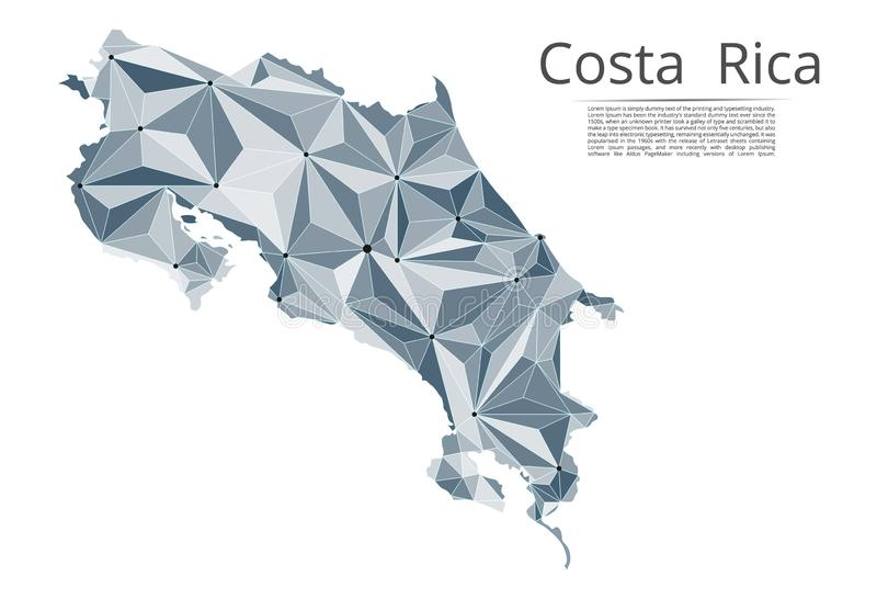 Costa Rica communication network map. Vector low poly image of a global map with lights in the form of cities in vector illustration