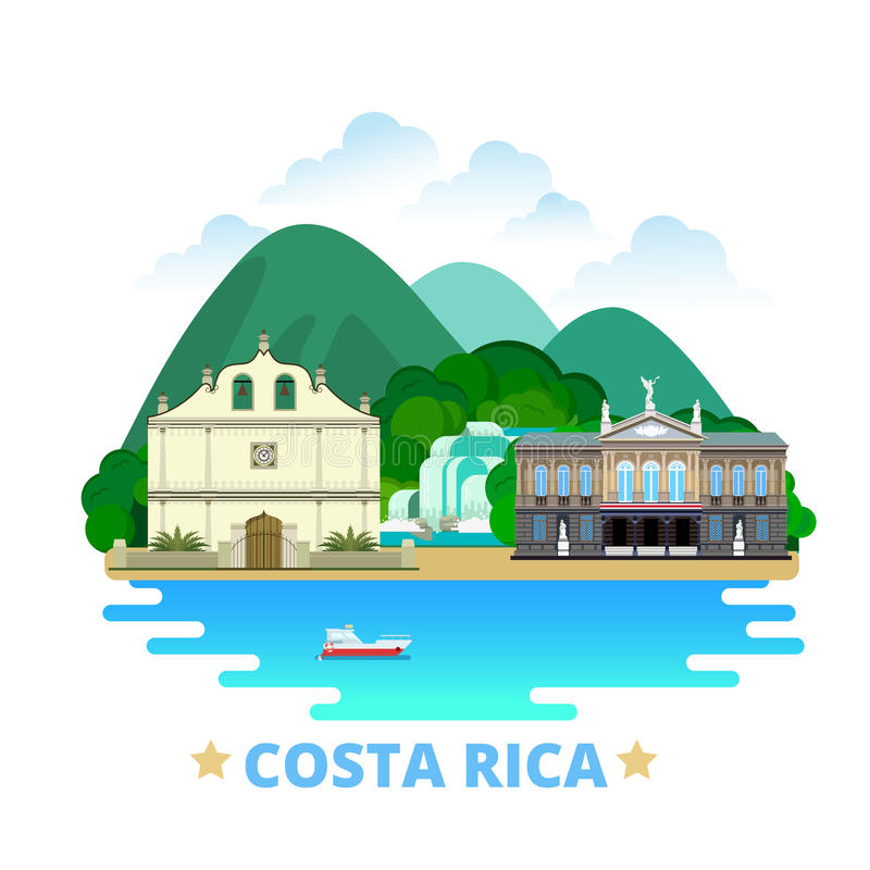 Costa Rica country design template Flat cartoon st. Costa Rica country design template. Flat cartoon style historic sight showplace web vector illustration stock illustration