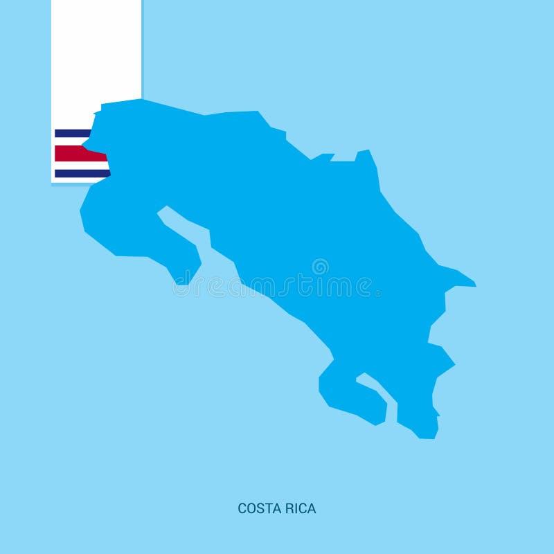 Costa Rica Country Map med flaggan över blå bakgrund stock illustrationer