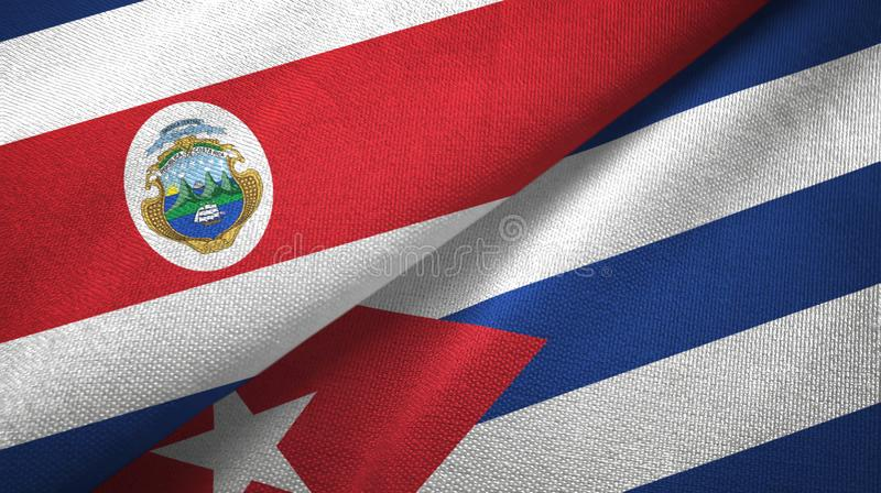 Costa Rica and Cuba two flags textile cloth, fabric texture. Costa Rica and Cuba two folded flags together vector illustration