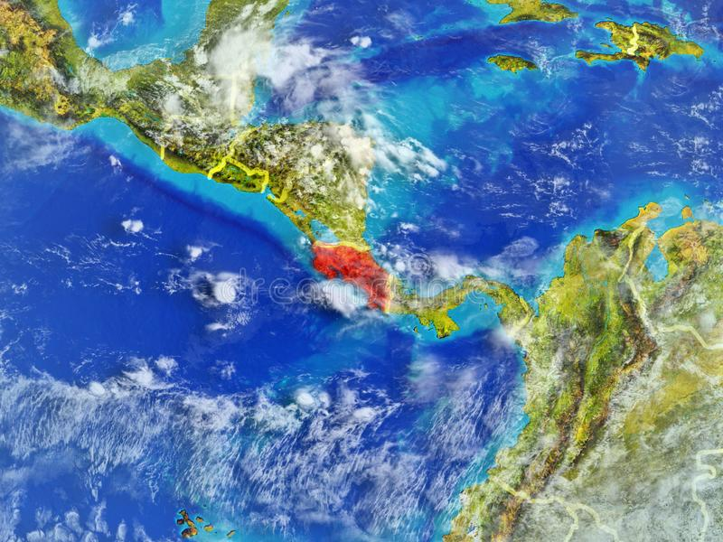 Costa Rica on Earth from space. Costa Rica from space on model of planet Earth with country borders. Extremely fine detail of planet surface and clouds. 3D royalty free illustration