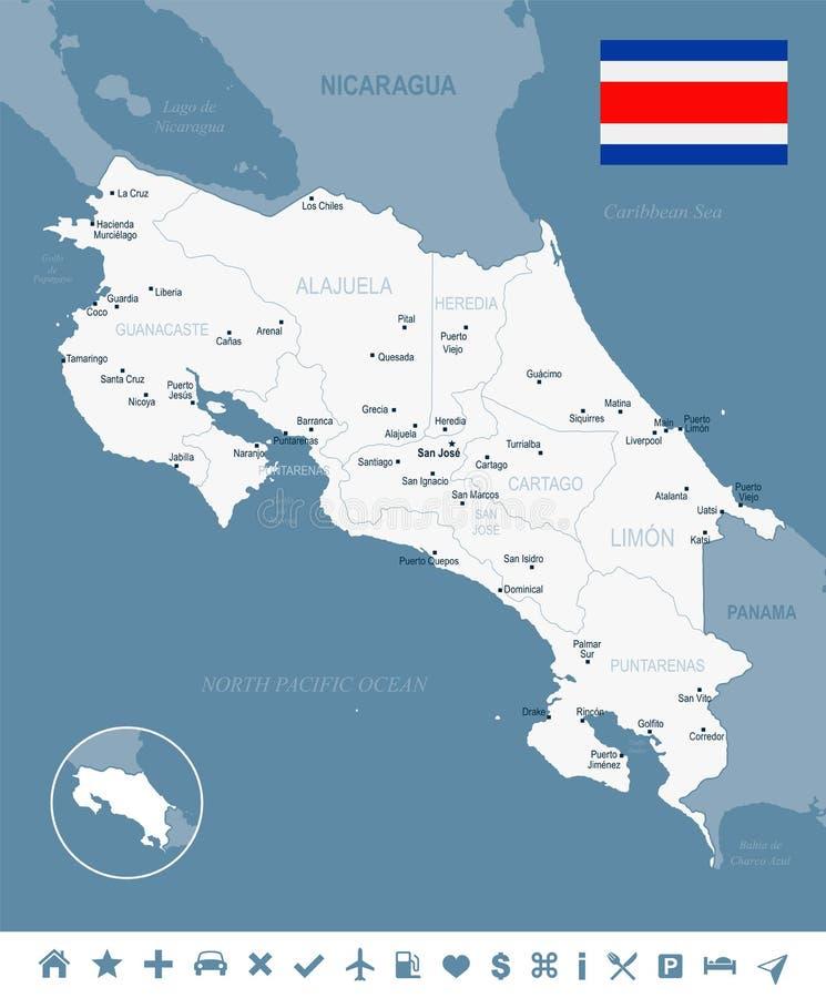Costa Rica - ejemplo detallado del vector del mapa y de la bandera stock de ilustración