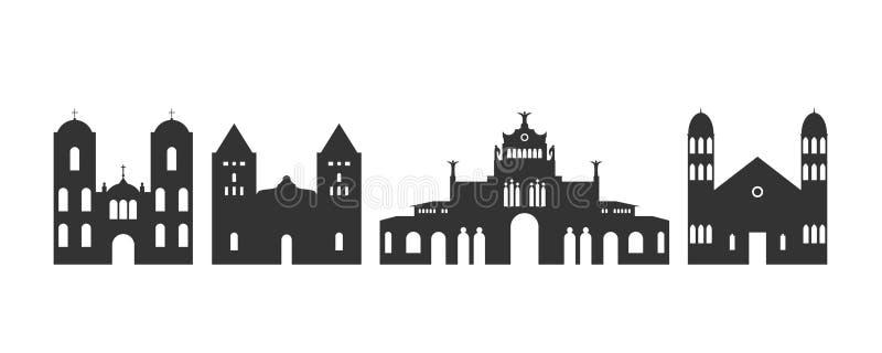 Costa Rica-embleem Ge?soleerde Costa Rica-architectuur op witte achtergrond stock illustratie