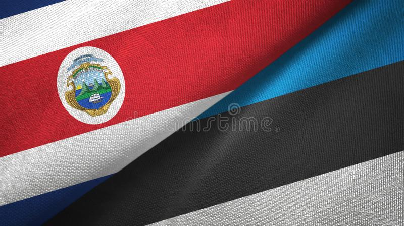 Costa Rica and Estonia two flags textile cloth, fabric texture. Costa Rica and Estonia flags together textile cloth, fabric texture vector illustration