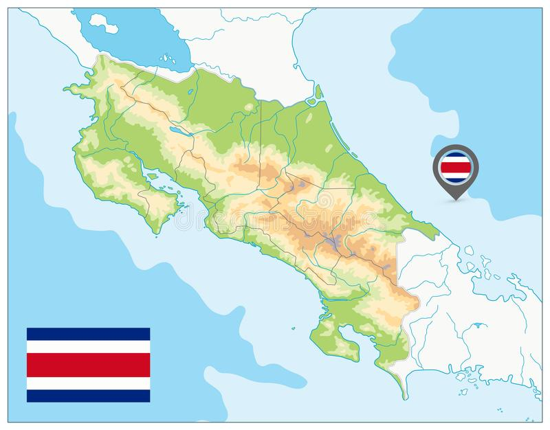 Costa Rica Fizyczna mapa żadny tekst ilustracja wektor