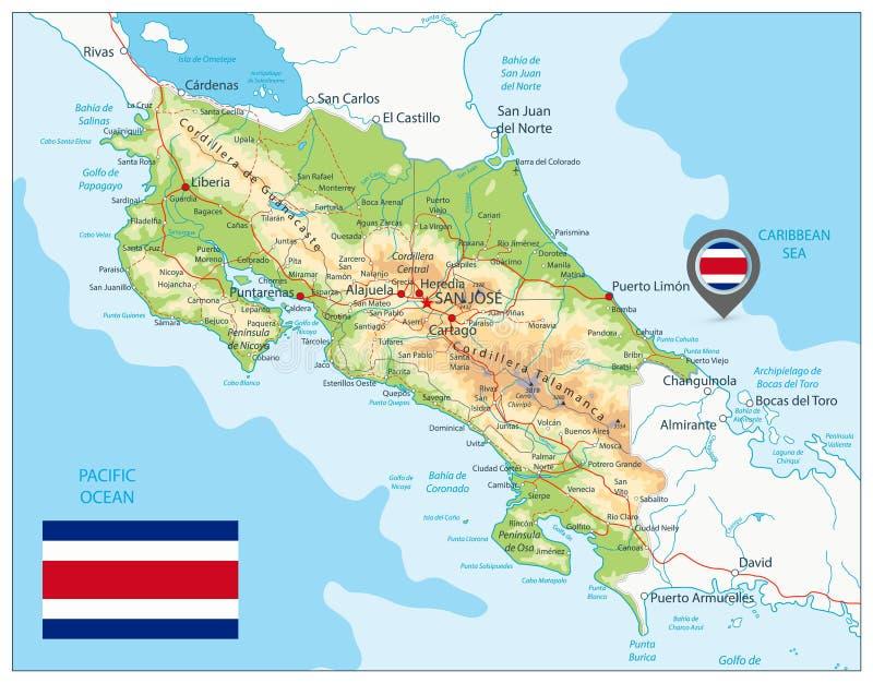 Costa Rica Fizyczna mapa royalty ilustracja