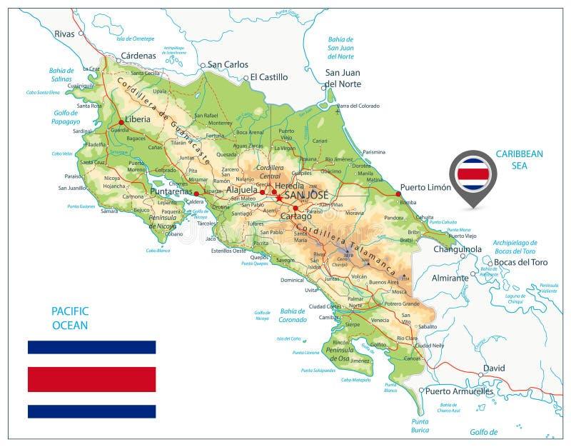 Costa Rica Fizyczna mapa Na biel ilustracja wektor