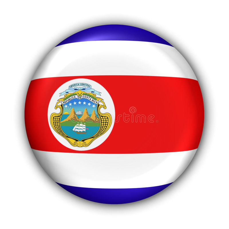 Costa Rica Flag. World Flag Button Series - Central America/Caribbean - Costa Rica (With Clipping Path royalty free illustration