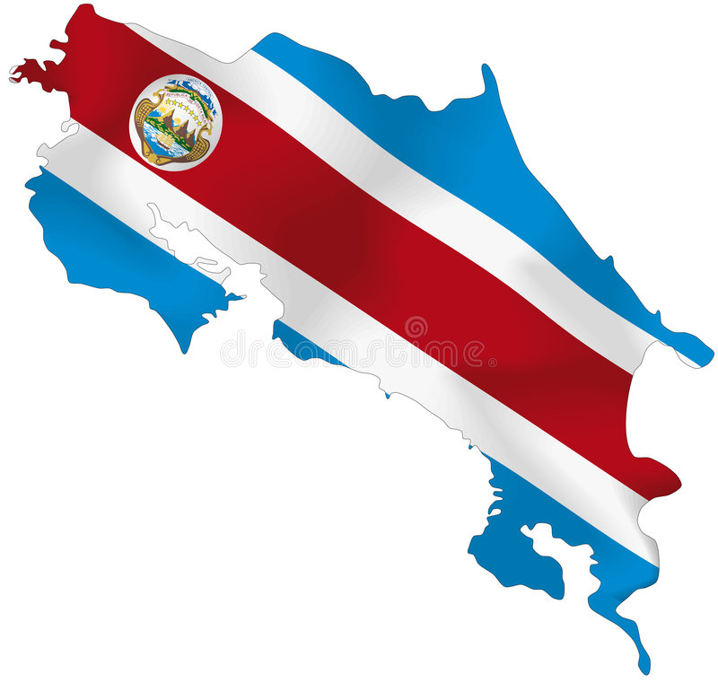 Costa Rica flag. Vector illustration of a map and flag from Costa Rica stock illustration