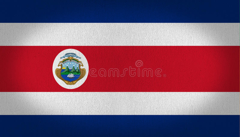 Costa Rica flag. With blue withe and red stripes in it and his little logo in the left center side, fabric texture background vignette vector illustration