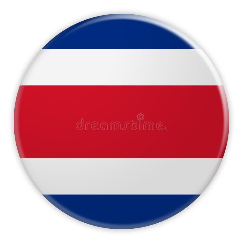 Costa Rica Flag Button, crachá do conceito da notícia ilustração royalty free
