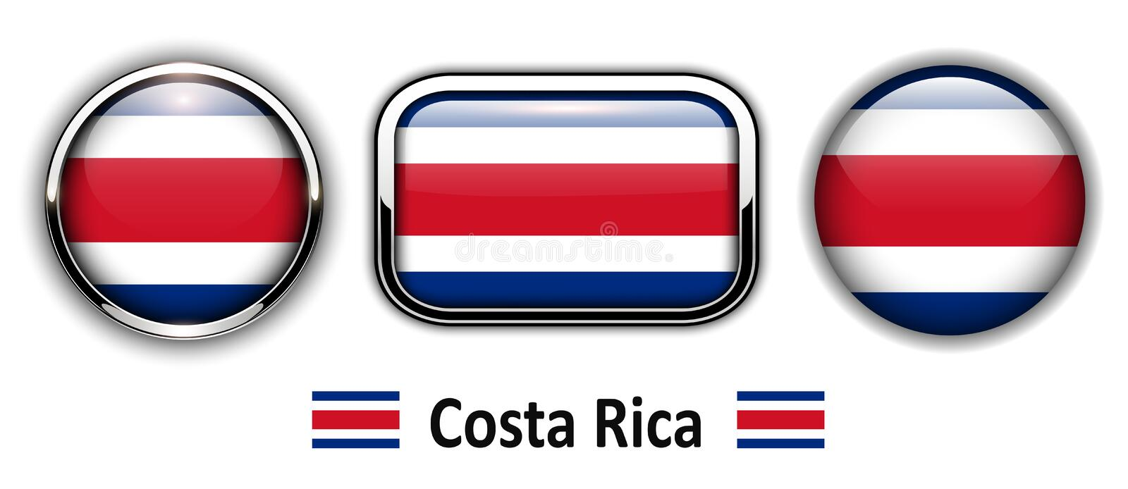 Costa Rica flag buttons. 3d shiny vector icons royalty free illustration