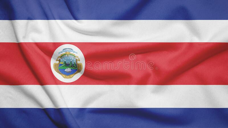 Costa Rica flag with fabric texture. Costa Rica flag on the fabric texture stock illustration