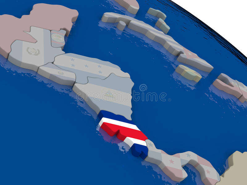 Costa Rica with flag. Highlighted on model of globe. 3D illustration vector illustration