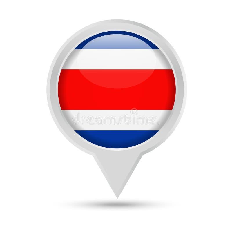 Costa Rica Flag Round Pin Vector symbol stock illustrationer