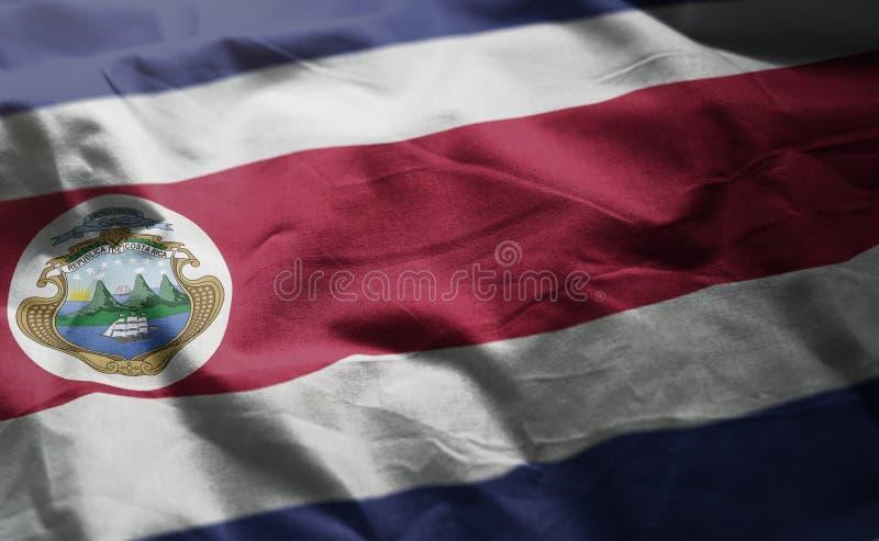 Costa Rica Flag Rumpled Close Up fotografía de archivo libre de regalías
