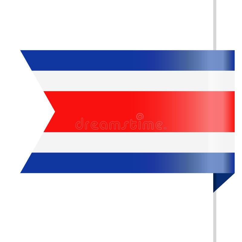 Costa Rica Flag Vector Bookmark Icon stock de ilustración