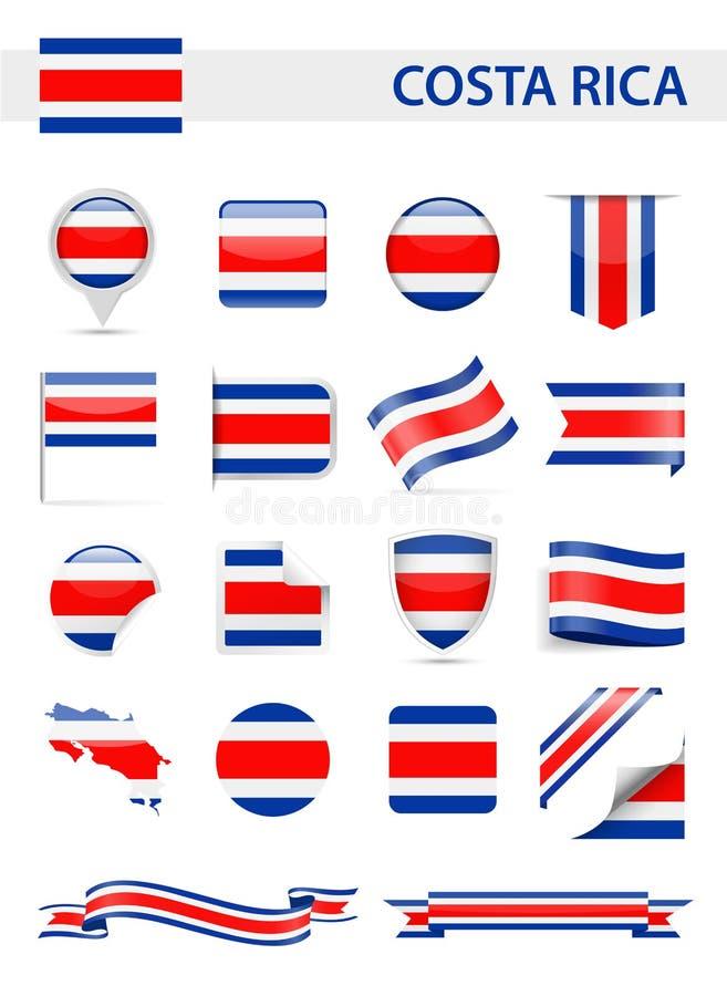 Costa Rica Flag Vector Set stock illustrationer