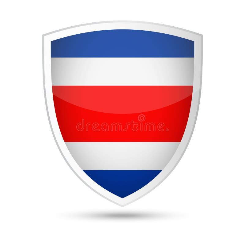 Costa Rica Flag Vector Shield Icon royaltyfri illustrationer