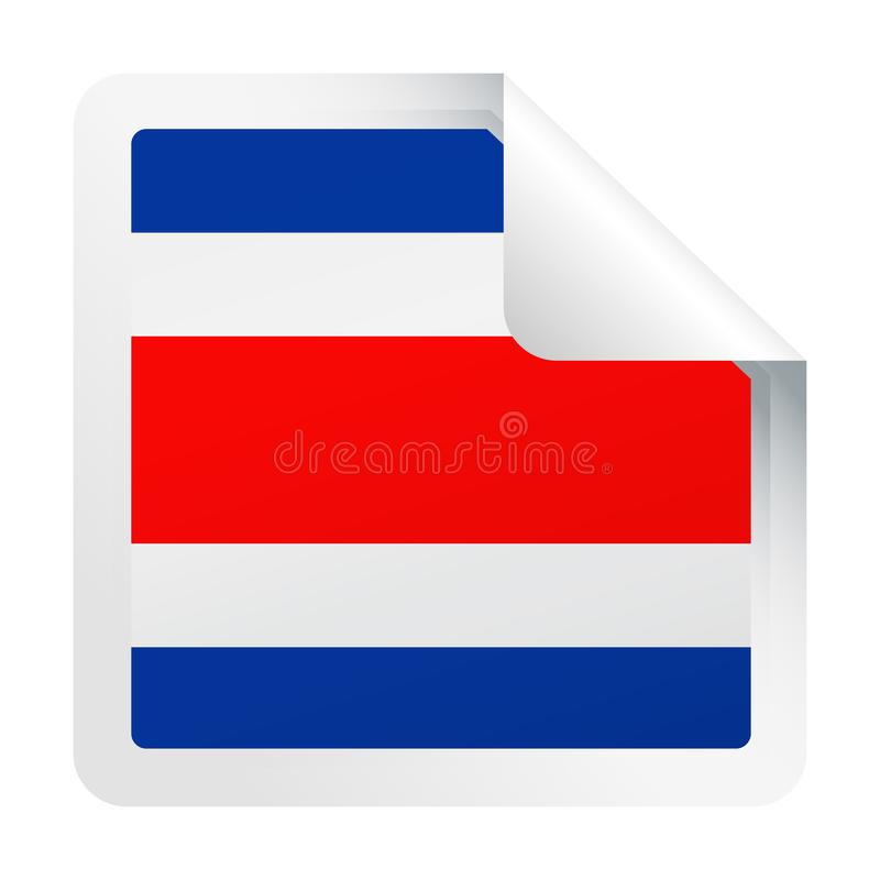 Costa Rica Flag Vector Square Corner papperssymbol stock illustrationer