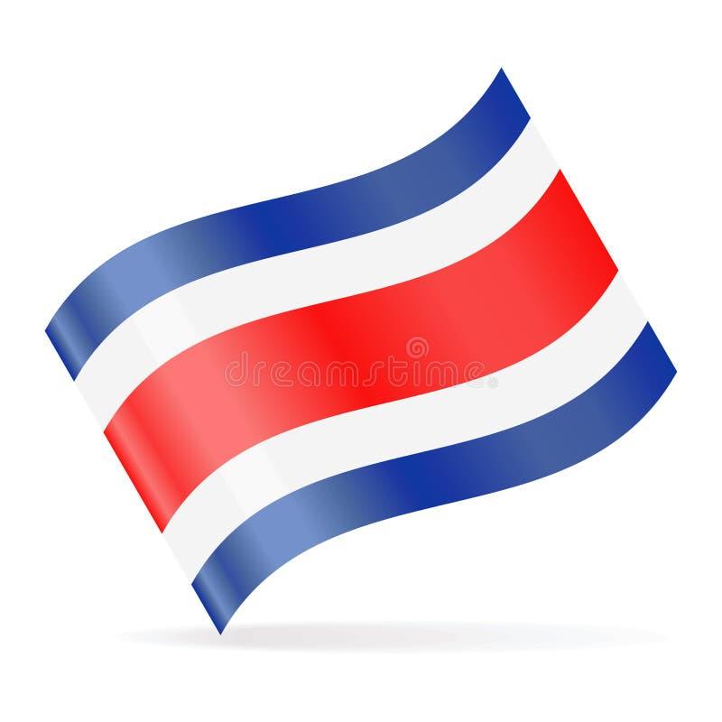 Costa Rica Flag Vector Waving Icon vektor illustrationer