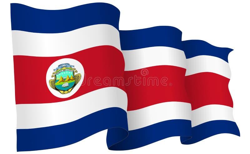 Costa Rica Flag Waving Vector Illustration royalty free illustration