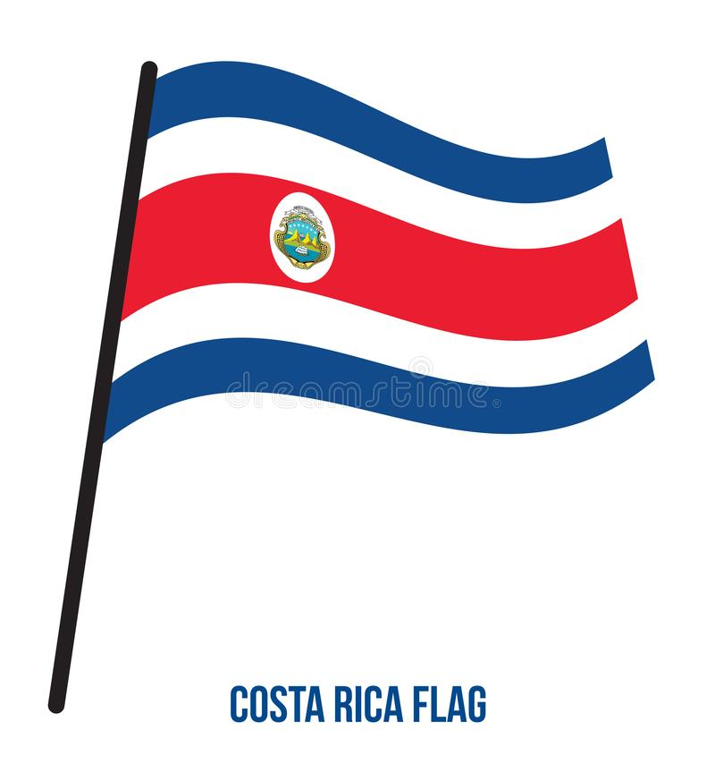 Costa Rica Flag Waving Vector Illustration su fondo bianco Costa Rica National Flag illustrazione di stock