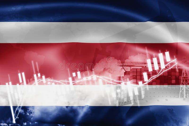 Costa Rica flagga, aktiemarknad, utbytesekonomi och handel, oljeproduktion, behållareskepp i export- och importaffär och royaltyfri illustrationer