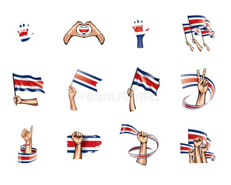 Costa Rica flagga och hand på vit bakgrund också vektor för coreldrawillustration royaltyfri illustrationer