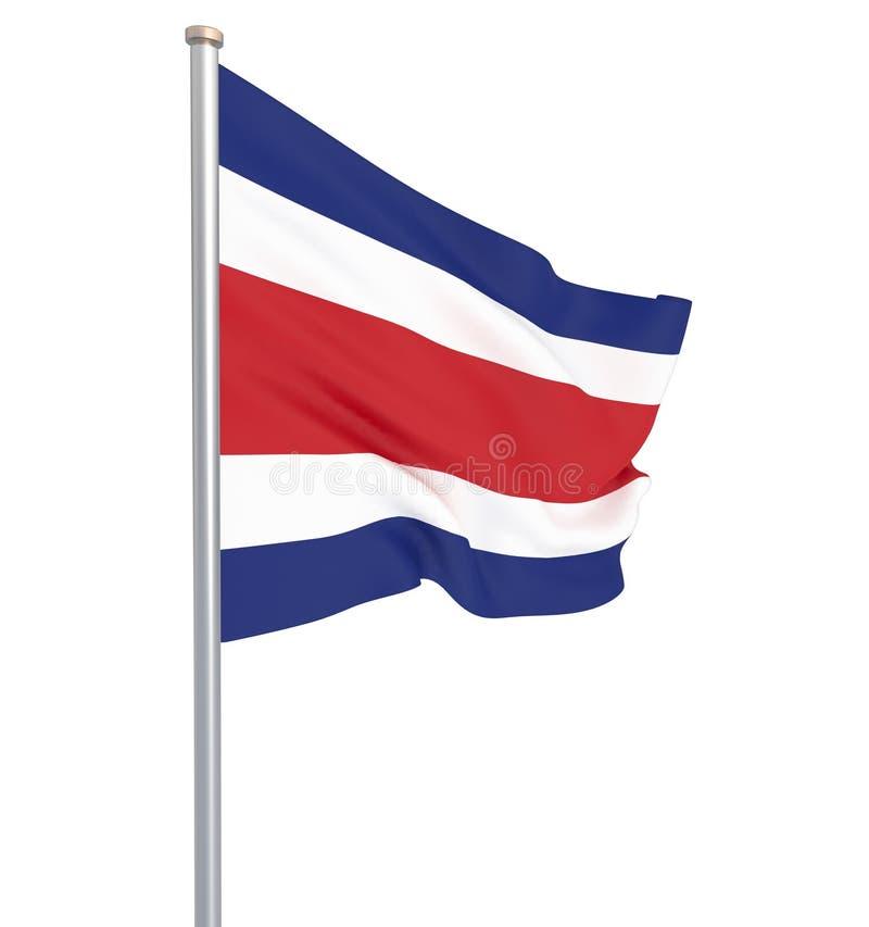 Costa Rica flagga som bl?ser i vinden f?nster f?r textur f?r bakgrundsdetalj tr?gammalt 3d tolkning, vinkande flagga konst teckna royaltyfri illustrationer