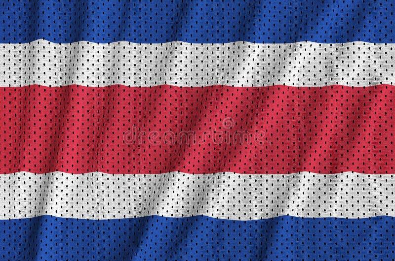 Costa Rica flagga som skrivs ut på ett fab ingrepp för polyesternylonsportswear arkivfoton