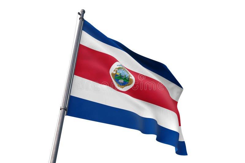 Costa Rica flagga som vinkar den isolerade vita illustrationen för bakgrund 3D vektor illustrationer