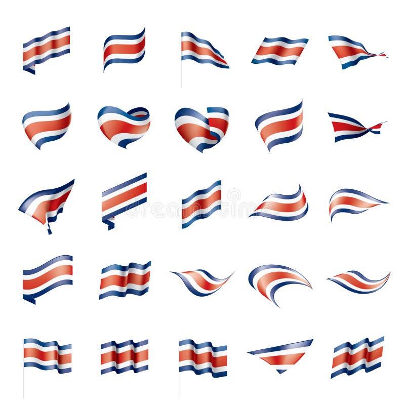 Costa Rica flagga, vektorillustration stock illustrationer