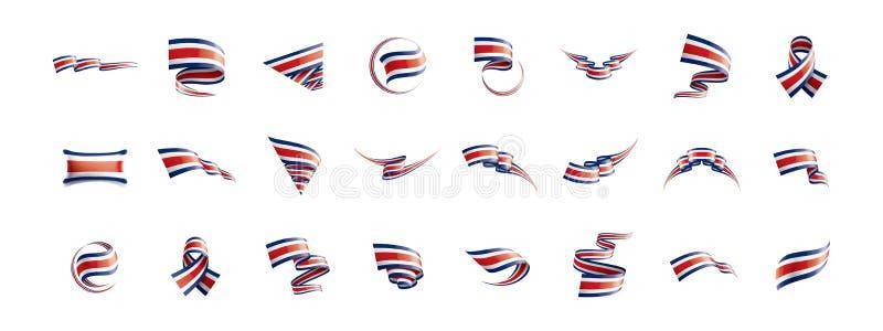 Costa Rica flagga, vektorillustration på en vit bakgrund royaltyfri illustrationer