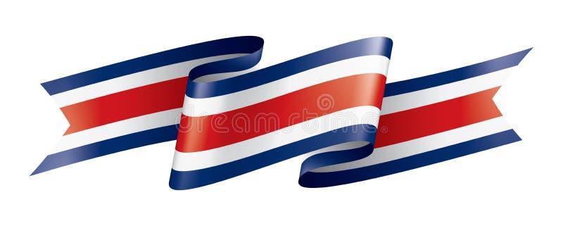 Costa Rica flagga, vektorillustration p? en vit bakgrund stock illustrationer