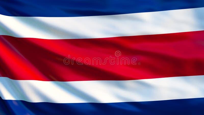 Costa Rica flagga Vinkande flagga av den Costa Rica 3d illustrationen royaltyfri illustrationer