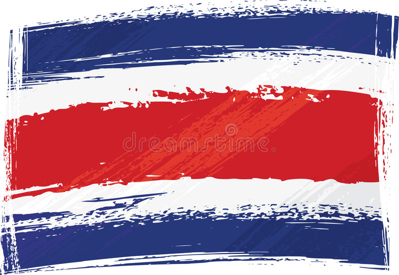 Costa Rica flaggagrunge royaltyfri illustrationer