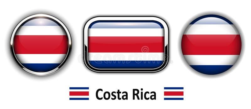 Costa Rica flaggaknappar royaltyfri illustrationer
