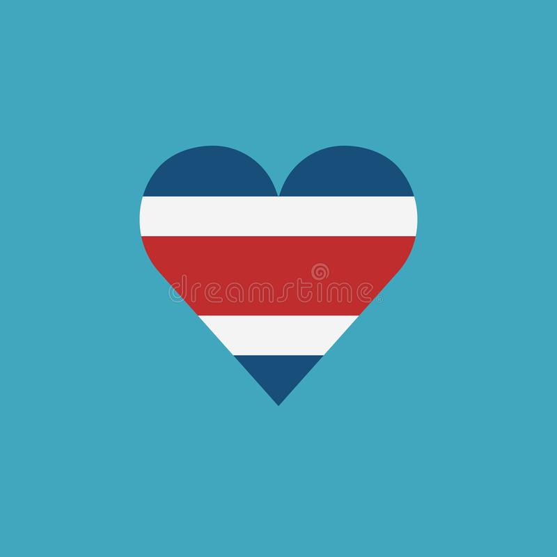 Costa Rica flaggasymbol i en hjärtaform i plan design stock illustrationer