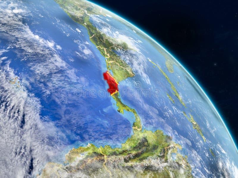 Costa Rica från utrymme vektor illustrationer