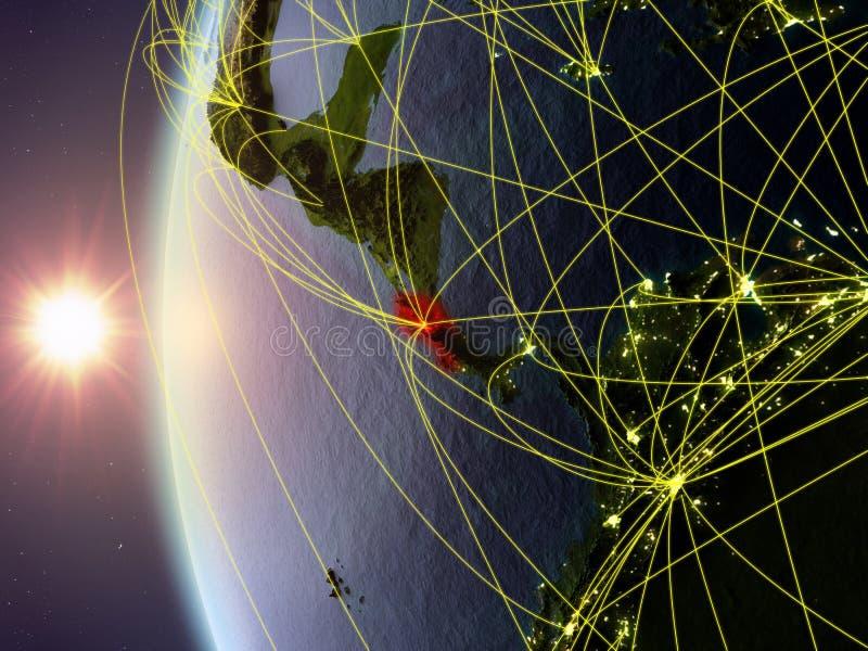 Costa Rica från utrymme med nätverket stock illustrationer