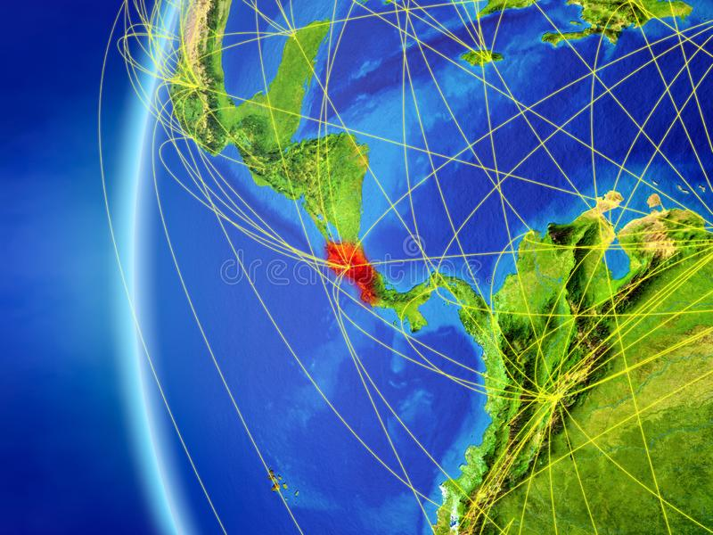 Costa Rica från utrymme med nätverket royaltyfri illustrationer