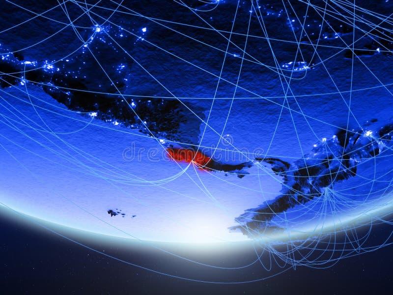Costa Rica från utrymme med nätverket vektor illustrationer