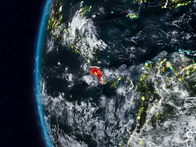 Costa Rica från utrymme under natt vektor illustrationer