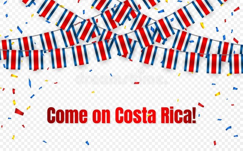 Costa Rica girlandflagga med konfettier på genomskinlig bakgrund, hängningbunting för berömmallbanret, vektorillustration vektor illustrationer