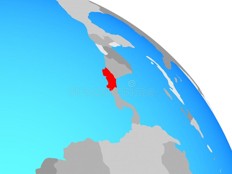 Costa Rica on globe stock illustration