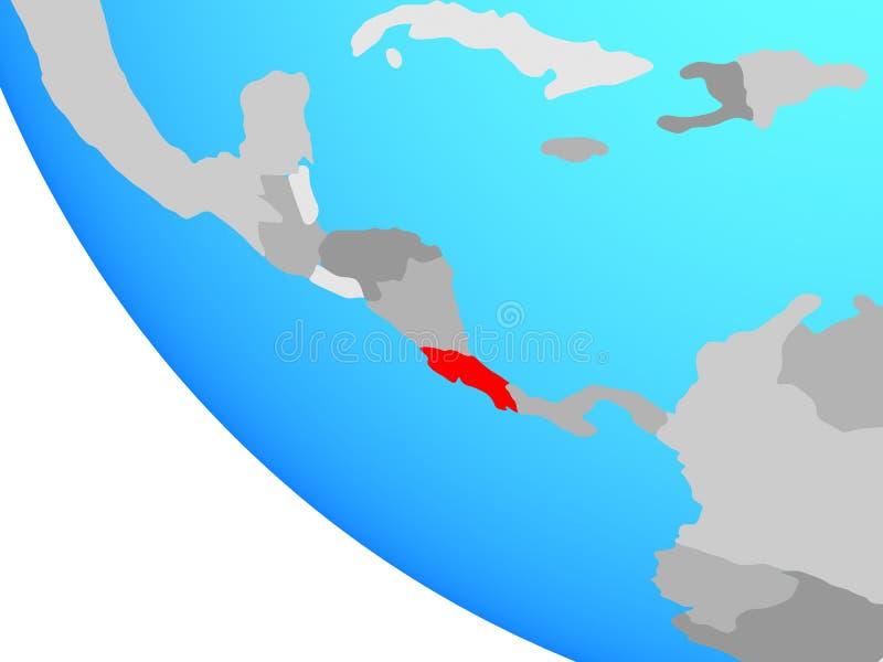 Costa Rica on globe vector illustration